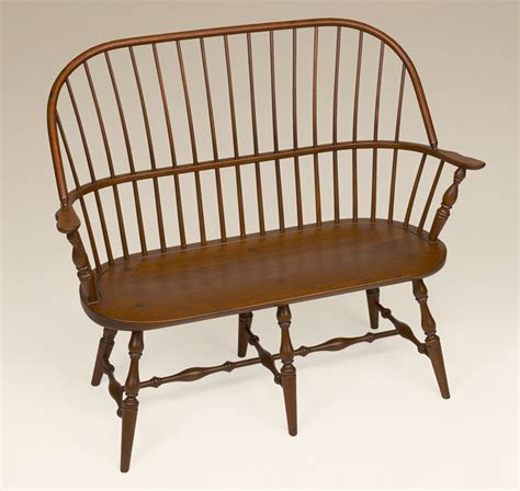 bench settee furniture cherry sack back windsor settee