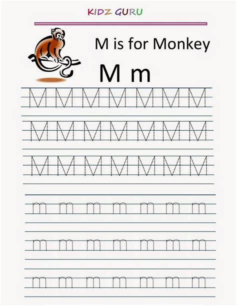 M Tracing Worksheet by Kindergarten Worksheets Printable Tracing Worksheet