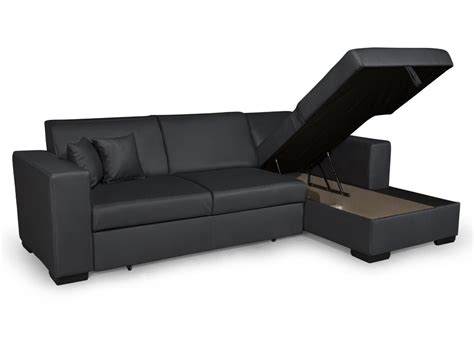 Canapé D Angle Convertible Tissu by Canap 195 169 D Angle Convertible Simili Cuir Noir Pas Cher