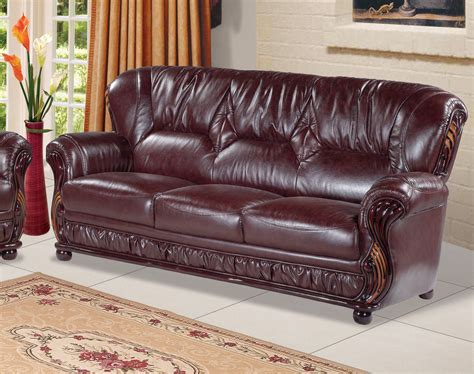 leather and wood sofa mina burgundy leather italian sofa with wood accents