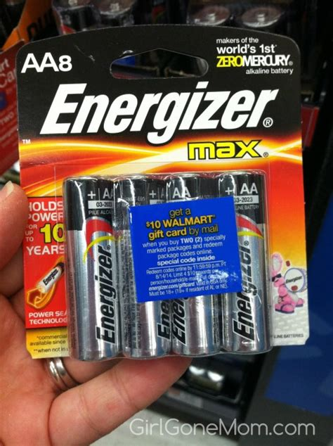 Walmart Gift Card With Purchase - 10 walmart gift card with purchase of energizer max batteries girl gone mom
