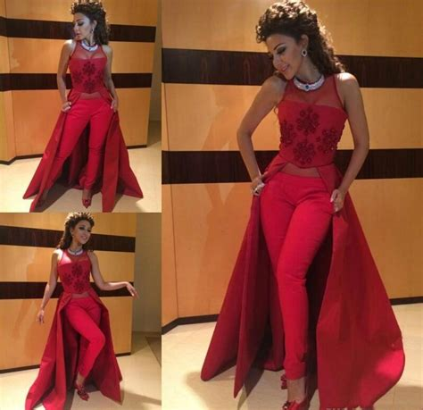 Cocktail Party Pant Suits - aliexpress com buy 2016 myriam fares dresses red formal gowns illusion neckline appliques slim