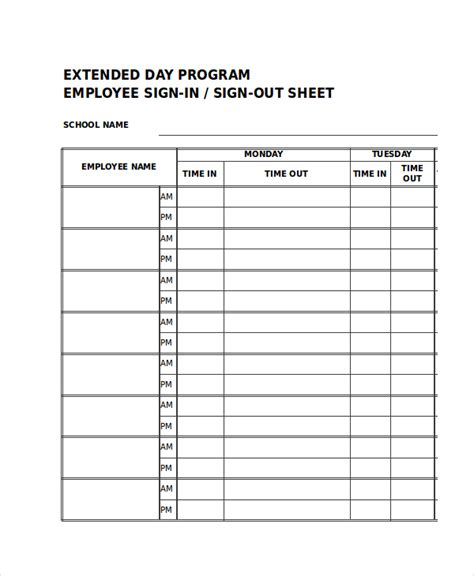 employee sign in sign out sheet template sign in sheet 30 free word excel pdf documents