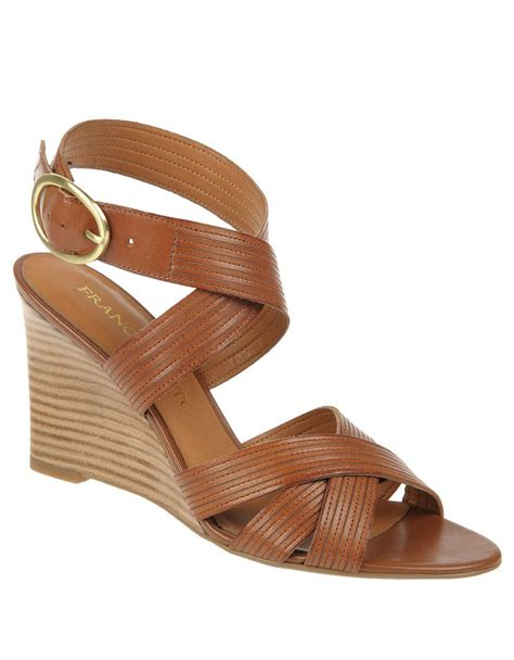 franco sarto brown sandals franco sarto kasia leather wedge sandals in brown lyst