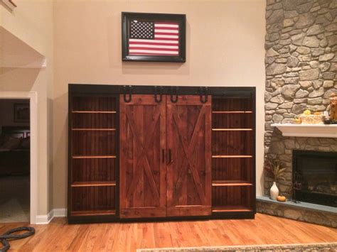 Entertainment Cabinet With Barn Doors Rustic Family Entertainment Cabinet With Doors