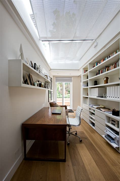 Home Office Design And False Ceiling Inspired Leaning Shelves In Home Office Contemporary With