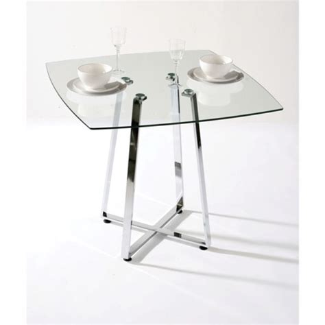Small Square Glass Dining Table Melito Square Glass Dining Table In Clear With Chrome Base
