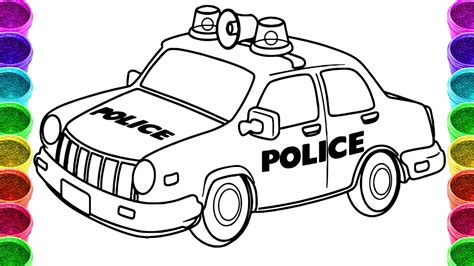 coloring pictures of cartoon cars police car coloring page printable coloring image