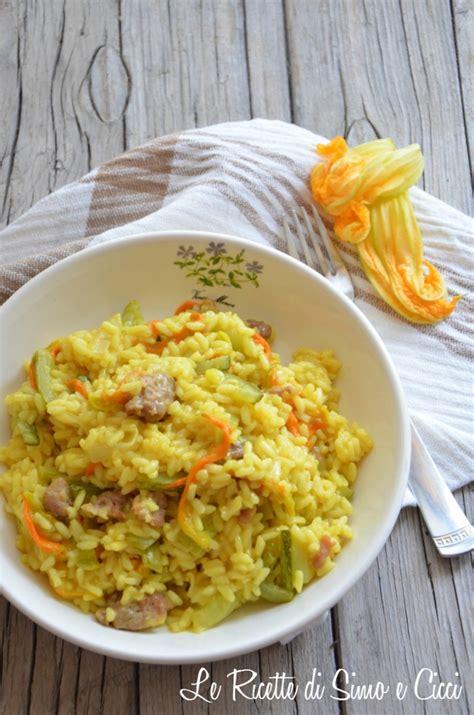 risotto con fiori di zucca e zucchine risotto alla salsiccia e fiori di zucca