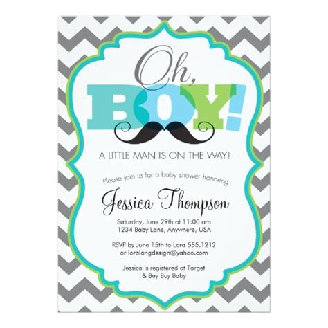 invitations to baby shower oh boy mustache baby shower invitation zazzle
