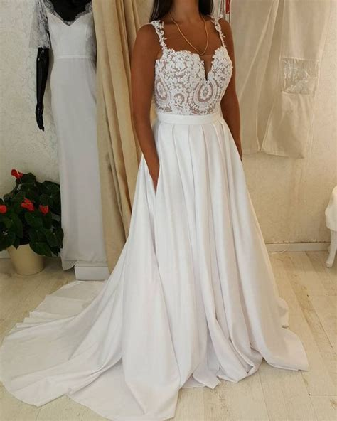 Flowy Pocket Dress Bigsize Jumbo spaghetti sweetheart neck lace top wedding dress