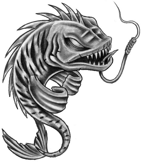 furious grey color fish hanging on hook tattoo design