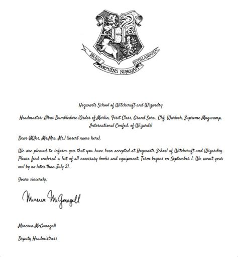 hogwarts acceptance letter template pictures to pin on