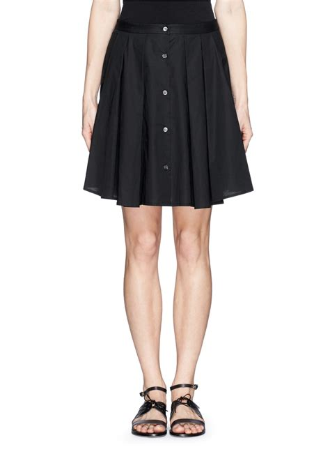 theory keltrice button front pleat skirt in black lyst