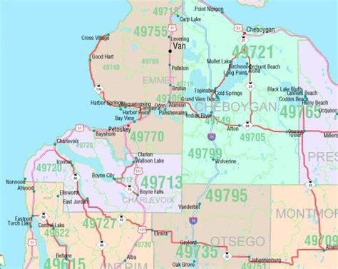 michigan zip code map michigan zip code map