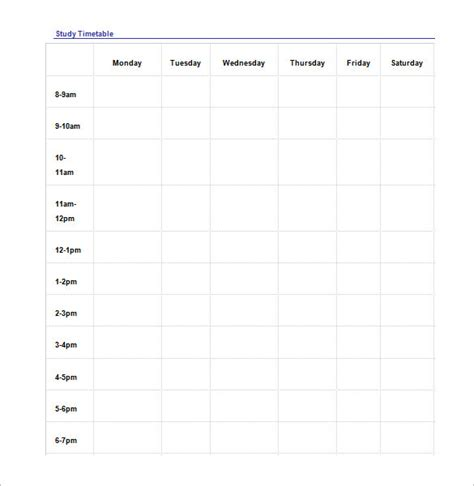 templates for studies study schedule templates 14 free word excel pdf