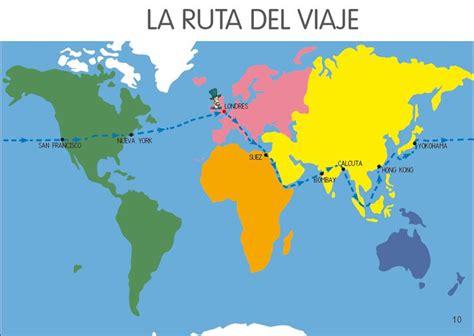 la vuelta al mundo planisferio con el recorrido del viaje de fogg vuelta al mundo en 80 d 237 as jules