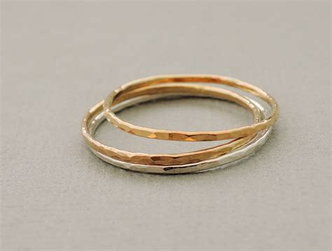 gold and silver rings stacking rings thin gold rings