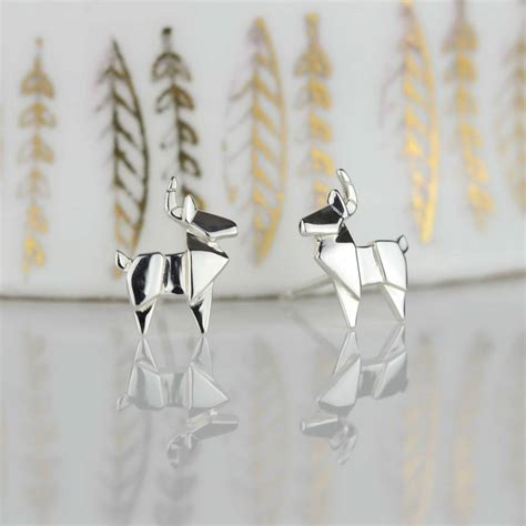Origami Stag - stunning silver origami stag earrings by nest
