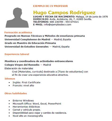 Modelo De Curriculum Vitae Ya Hecho Ejemplo Curr 237 Culum Profesor Curr 237 Culums De Educaci 243 N