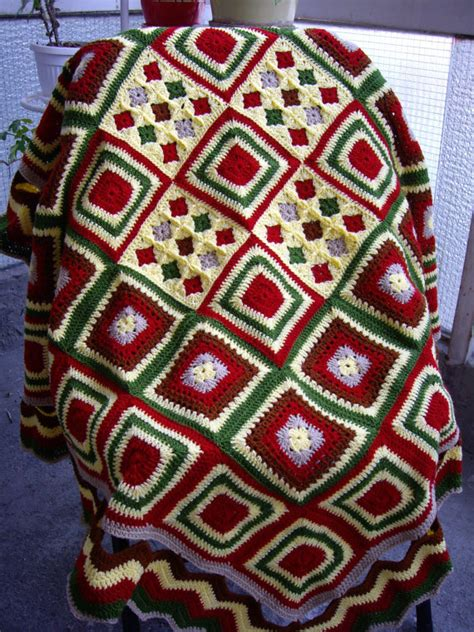 Patchwork Square Afghan - square crochet blanket knitting patchwork by