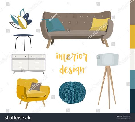 design elements furniture vector interior design elements modern furniture stock