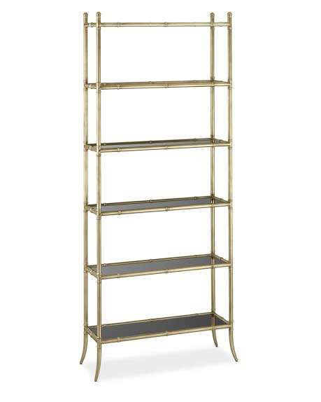 201 tag 232 re antique brass black glass 6 shelf bookcase