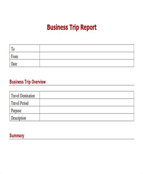 8 Sle Trip Reports Sle Templates Business Travel Report Template