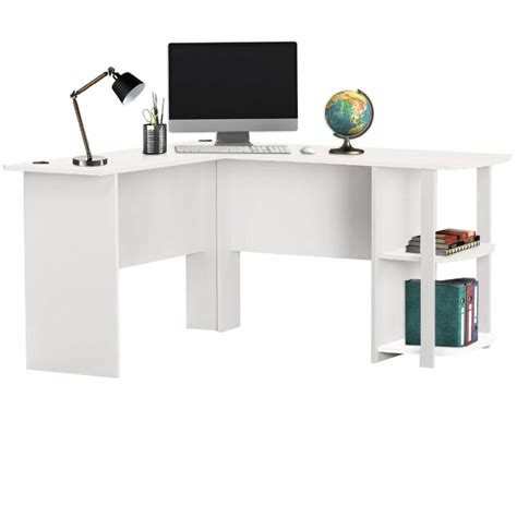Livivo L Shape White Office Computer Desk With Book White Corner Desk With Shelves