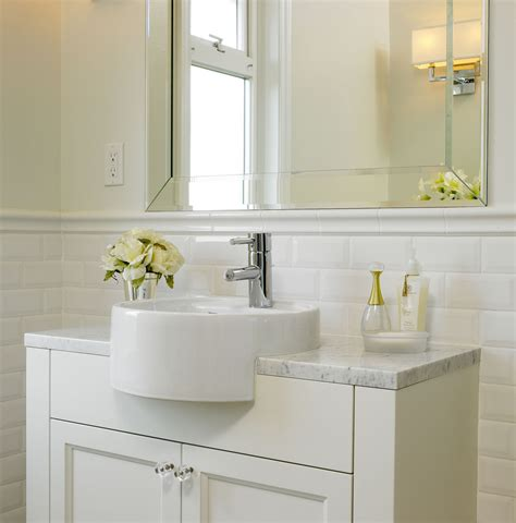 bathroom subway tile subway tile 42 quot tall wainscoting with bullnose top rail