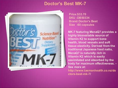Doctor S Best Mk 7 Featuring Menaq7 Vitamin K2 100 Mcg 60 ppt 25 sep 2015