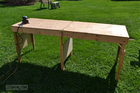 diy table with folding legs a portable collapsible workbench every diyer needsfunky junk interiors