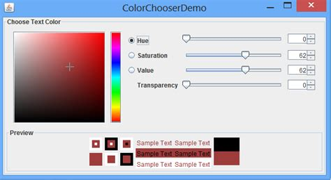 colors in java swing swing customizing default abstractcolorchooserpanel in