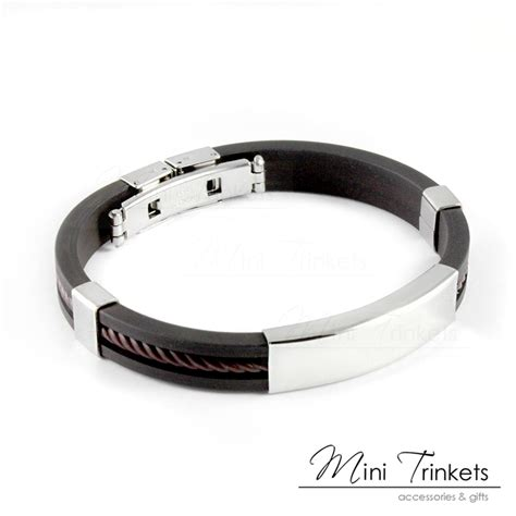 mens boys leather braided wristband bracelet stainless