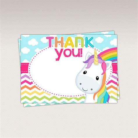printable unicorn thank you tags unicorn rainbow thank you card thank you favor tags by