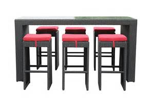 kontiki dining sets wicker bar sets amp balcony height lulu 7 piece bar height dining set