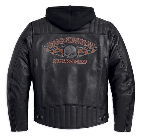 Mes Studded 3in1 harley davidson leather jackets studded leather jacket