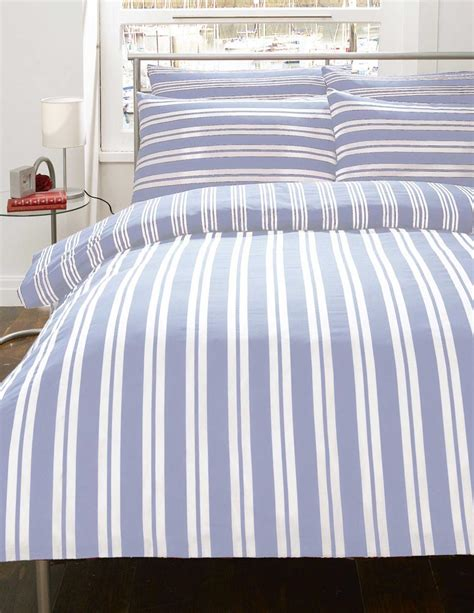 Blue Stripe Duvet blue white stripe flannelette discountboys bedding duvet cover set 3 sizes ebay