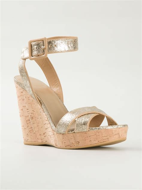 stuart weitzman ankle wedge sandals in gold