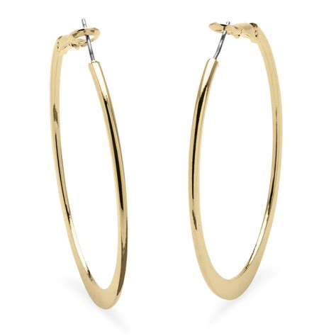 Anting 18k Gold Plated Foxy Earrings palmbeach jewelry hoop earrings in 18k gold plated with surgical steel posts