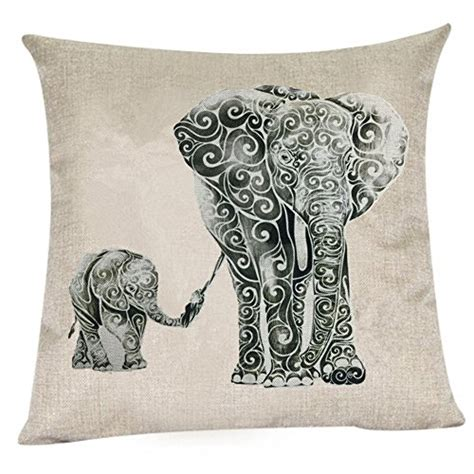 Elephant Linen Pillow Pillow Cover wonder4 elephant pillow linen cotton sofa