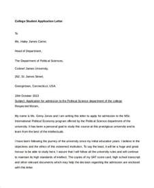 College Application Letter Sle For Admission College Application Letter Templates 9 Free Word Pdf Format Free Premium Templates