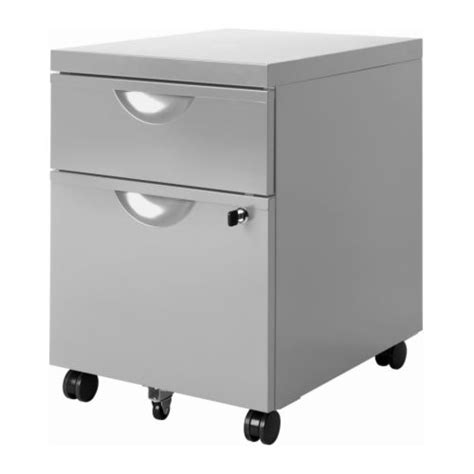 erik drawer unit w 2 drawers on castors silver colour ikea