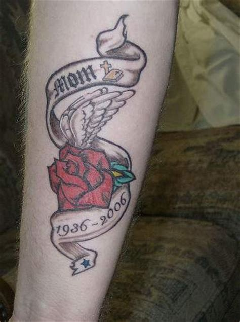 red rose in stripe in loving memory of mom tattooimages biz