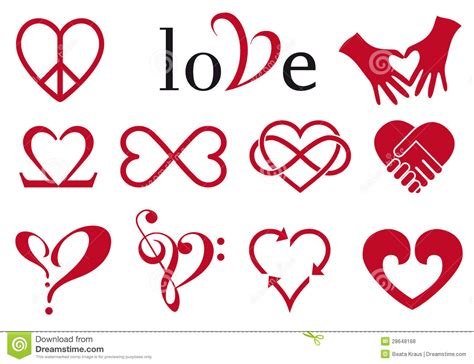 abstract heart designs vector set royalty free stock