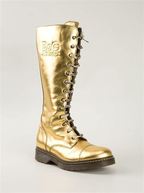 d g boots for dolce gabbana d g junior boots in gold metallic lyst