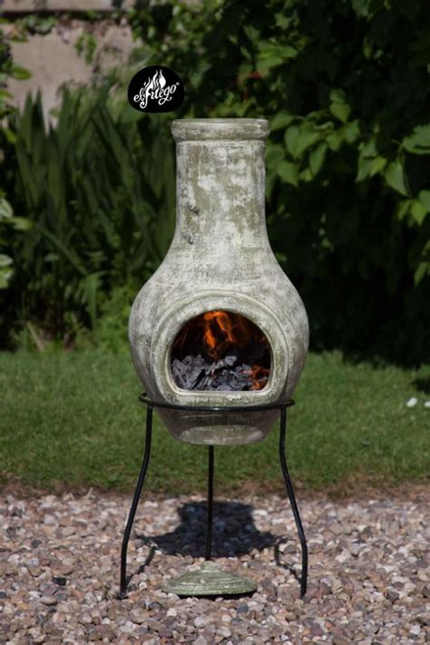 Clay Chiminea Replacement Lid Gardeco Lola Small Clay Chiminea With Stand And Lid