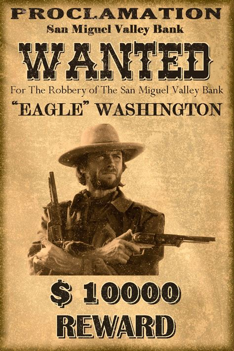 Western Wanted Postersclassic Western Wanted Poster By Mt Western Wanted Poster Template