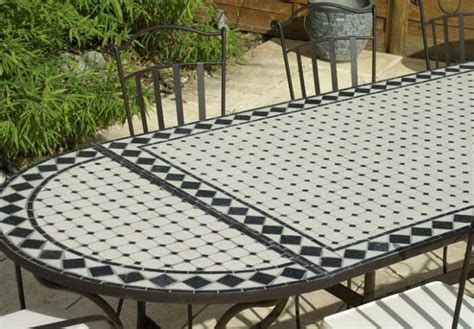 table jardin mosaique ovale 300cm table rectangle plus consoles c 233 ramique blanche et ses