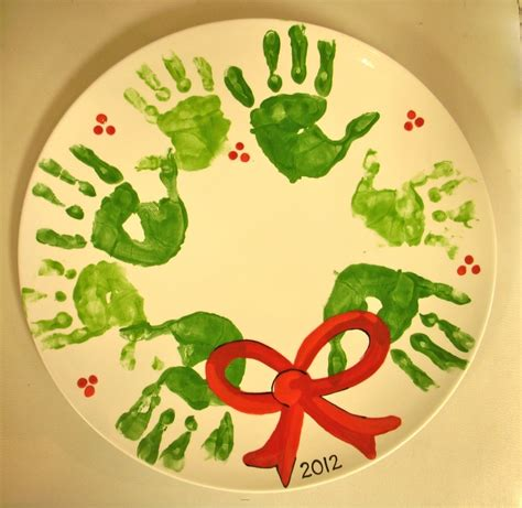 christmas handprint crafts handprint wreath painted